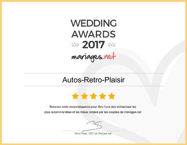 Autos Rétro Plaisir a remporté le prix des Wedding Awards 2017 sur mariages.net